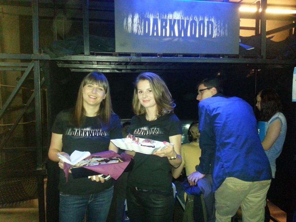 Our lovely booth babes handing out Bloody Muffins and Creepy Cookies